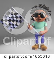 Cool Black Man With Dreadlocks Waves The Checkered Flag 3d Illustration