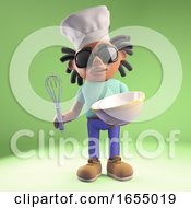 Cool Black African Man Wears Chefs Hat And Mix A Cake In A Bowl 3d Illustration