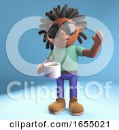 Poster, Art Print Of Happy Black Man Drinking Coffee And Waving Hello 3d Illustration