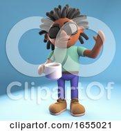 Happy Black Man Drinking Coffee And Waving Hello 3d Illustration