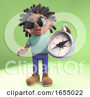 Cool Black Man With Dreadlocks Holding A Magnetic Compass 3d Illustration