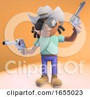 Cool Black Man With Dreadlocks Wearing Cowboy Hat And Firing Pistols 3d Illustration