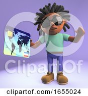 Black Man With Dreadlocks Pays At Checkout With Credit Card 3d Illustration