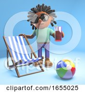 Black Man With Dreadlocks With Deckchair Drink And Beachball 3d Illustration