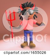 Black Man Dressed As The Devil With Horns And Trident 3d Illustration