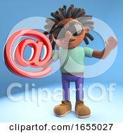 A Black Man With Dreadlocks Holding An Email Address Symbol 3d Illustration