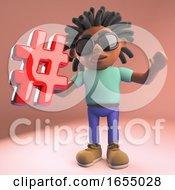 Cartoon Black Afro Caribbean Man With Dreadlocks Holds Hashtag Symbol 3d Illustration