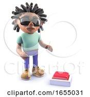 Cool Cartoon Black Rastafarian Character Looking At A Button 3d Illustration