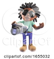 Black Rastafarian Cartoon Character Holding A Camera 3d Illustration