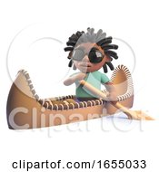 Cartoon Black Rastafarian Man Rowing A Kayak Canoe 3d Illustration
