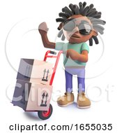 Cartoon Black African Rastafarian Man Delivering Parcels On A Trolley 3d Illustration