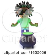 Cool Black Rastafarian Character With A Cauldron Of Magic Potion 3d Illustration
