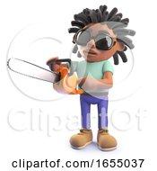 Cartoon Black Rastafarian African Man With Chainsaw 3d Illustration