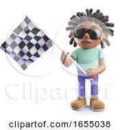 Cartoon Black African Rastafarian Character Holding A Checkered Flag 3d Illustration