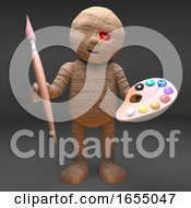 Poster, Art Print Of Egyptian Mummy Fancies Himself As An Artist With Brush And Palette 3d Illustration