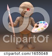 Poster, Art Print Of Undead Egyptian Mummy Monster With Paintbrush And Palette 3d Illustration