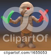 Poster, Art Print Of Egyptian Mummy Monster Has A Choice Between Yes And No 3d Illustration