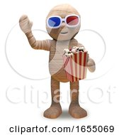 Cartoon Egyptian Mummy Wears 3d Glasses And Eats Popcorn At The Movie 3d Illustration by Steve Young