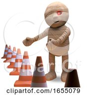 Undead Egyptian Mummy Is Responsible For All The Traffic Cones 3d Illustration by Steve Young