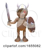 Egyptian Mummy Monster Has Come Dressed As A Viking 3d Illustration by Steve Young