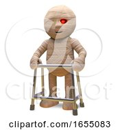 Egyptian Mummy Monster Is Getting Old And Needs A Walking Frame 3d Illustration by Steve Young