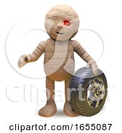 Egyptian Mummy Monster Sells Car Tyres And Wheels During The Week 3d Illustration by Steve Young