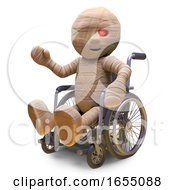 Egyptian Mummy Monster Likes To Use A Wheelchair When The Weather Is Bad 3d Illustration by Steve Young