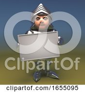 Brave Armour Clad Medieval Knight Holding Blank Banner Placard 3d Illustration