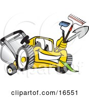 Yellow Lawn Mower Mascot Cartoon Character Facing Front And Carrying Gardening Tools