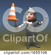 Silly Medieval Knight In Armour Jests With A Traffic Cone On His Sword 3d Illustration