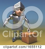 Poster, Art Print Of Heroic Medieval Knight Casts His Vote In The Ballot Box 3d Illustration