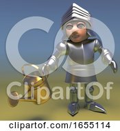 Medieval Knight Watering His Plants Before Leaving On The Crusade 3d Illustration by Steve Young