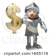 Heroic Medieval Knight In Armour Holds US Dollar Currency Symbol 3d Illustration
