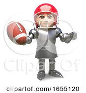 Medieval Knight Wearing American Football Helmet And Holding Ball 3d Illustration