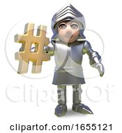 Medieval Heroic Armour Clad Knight Holds A Gold Hashtag Symbol3d Illustration