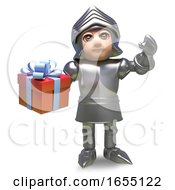 Brave Medieval Knight In Armour Holding Giftwrapped Present 3d Illustration