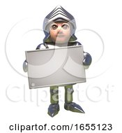 Heroic Medieval Knight In Armour Holds Blank Banner 3d Illustration