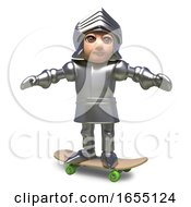 Skateboarding Medieval Knight In Plate Armour 3d Illustration