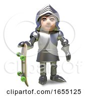 Young Medieval Knight In Armour Standing With His Skateboard 3d Illustration