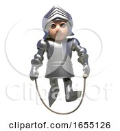 Armour Clad Medieval Knight Skips Joyfully With His Skipping Rope 3d Illustration