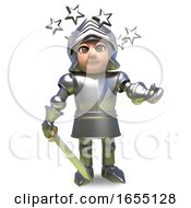 Dizzy Medieval Knight In Armour Is Confused By Stars In His Eyes 3d Illustration