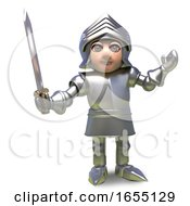 The Brave Medieval Armour Clad Knight Wields His Trusty Sword3d Illustration