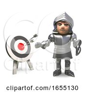 Medieval Knight Takes Target Practice And Hits The Bullseye With His Arrows 3d Illustration