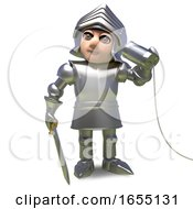 Medieval Armour Clad Knight Using A Tin Can Phone 3d Illustration