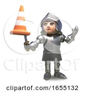Confused Medieval Knight Has A Traffic Cone Stuck On The End Of His Sword 3d Illustration