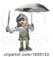 Even Heroic Medieval Knights Like To Keep Dry With An Umbrella 3d Illustration