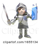 Brave Knight From Medieval Times Keeps His Data Safe On A USB Thumb Drive 3d Illustration