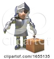 Poster, Art Print Of Brave Armour Clad Knight Cast His Vote In The Medieval Elections 3d Illustration