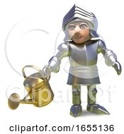 Heroic Medieval Knight Watering His Plants In A Brave Manner 3d Illustration