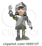 Hello Says The Waving Medieval Armour Clad Knight 3d Illustration